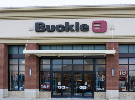 retailer: MAPLE GROVE, MNUSA - JANUARY 16, 2015: Buckle retail store. The Buckle, Inc. is a retailer selling clothing, footwear, and accessories for young men and women.