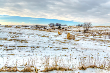 american midwest: Snow covered farm field in the American midwest.