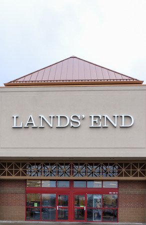 specializes: RICHFIELD, MNUSA - JANUARY 17, 2015: Lands End retail store exterior. Lands End is an American clothing retailer that specializes in casual clothing, luggage, and home furnishings. Editorial
