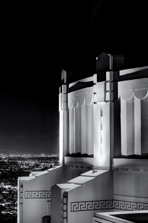 griffith: Griffith Observatory black and white vertical image at night.