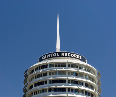 record label: HOLLYWOOD, CAUSA - APRIL 18, 2015: Historic Capitol Records Building. Capitol Records is a major American record label that is part of the Capitol Music Group.