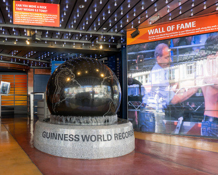 HOLLYWOOD, CAUSA - APRIL 18, 2015: Guiness Museum logo and marquee. The Guinness Museum is an attraction on the Hollywood Walk of Fame.