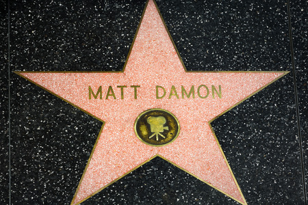 famous industries: HOLLYWOOD, CAUSA - APRIL 18, 2015: Matt Damon star on the Hollywood Walk of Fame. The Hollywood Walk of Fame is made up of brass stars embedded in the sidewalks on Hollywood Blvd.