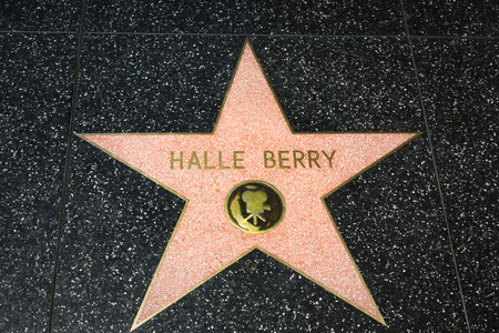 hale: HOLLYWOOD, CAUSA - APRIL 18, 2015: Hale Berry star on the Hollywood Walk of Fame. The Hollywood Walk of Fame is made up of brass stars embedded in the sidewalks on Hollywood Blvd. Editorial