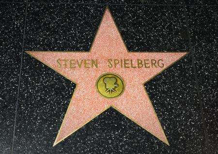 hollywood   california: HOLLYWOOD, CAUSA - APRIL 18, 2015: Steven Spielberg star on the Hollywood Walk of Fame. The Hollywood Walk of Fame is made up of brass stars embedded in the sidewalks on Hollywood Blvd.