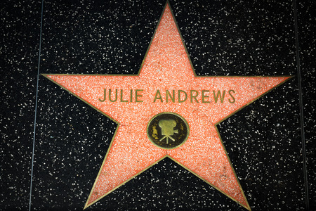 hollywood   california: HOLLYWOOD, CAUSA - APRIL 18, 2015: Julie Andrews star on the Hollywood Walk of Fame. The Hollywood Walk of Fame is made up of brass stars embedded in the sidewalks on Hollywood Blvd.
