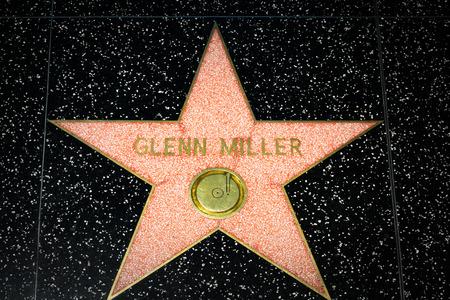 glenn: HOLLYWOOD, CAUSA - APRIL 18, 2015: Glenn Miller star on the Hollywood Walk of Fame. The Hollywood Walk of Fame is made up of brass stars embedded in the sidewalks on Hollywood Blvd. Editorial