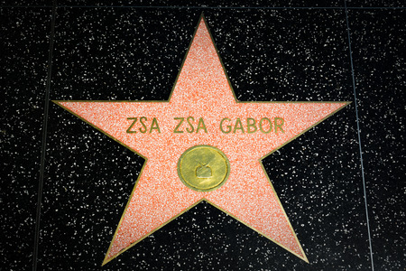 hollywood star: HOLLYWOOD, CAUSA - APRIL 18, 2015: Zsa Zsa Gabor star on the Hollywood Walk of Fame. The Hollywood Walk of Fame is made up of brass stars embedded in the sidewalks on Hollywood Blvd.