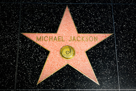 HOLLYWOOD, CAUSA - APRIL 18, 2015: Michael Jackson star on the Hollywood Walk of Fame. The Hollywood Walk of Fame is made up of brass stars embedded in the sidewalks on Hollywood Blvd.
