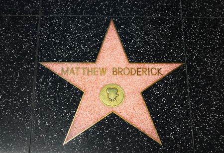 famous industries: HOLLYWOOD, CAUSA - APRIL 18, 2015: Mathew Broderick star on the Hollywood Walk of Fame. The Hollywood Walk of Fame is made up of brass stars embedded in the sidewalks on Hollywood Blvd.