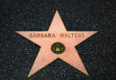 famous industries: HOLLYWOOD, CAUSA - APRIL 18, 2015: Barbara Walters star on the Hollywood Walk of Fame. The Hollywood Walk of Fame is made up of brass stars embedded in the sidewalks on Hollywood Blvd.
