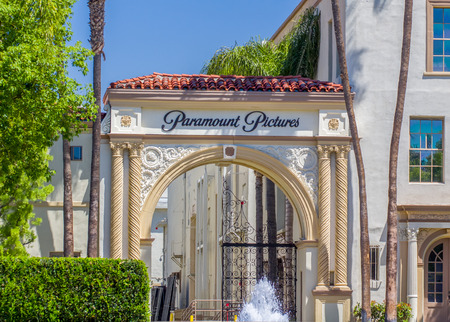picture person: LOS ANGELES, CAUSA - MAY 2, 2015: Paramount Pictures entrance and sign.  Paramount Pictures is a motion picture studio in California.
