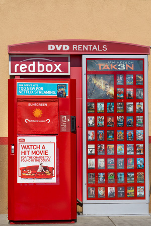 rentals: SANTA CLARITA, CAUSA - MAY 31, 2015: Redbox DVD rental machine. Redbox specializes in DVD, Blu-ray, and video game rentals via automated retail kiosks. Editorial