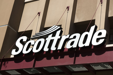 brokerage: PASADENA, CAUSA - JUNE 21, 2015: Scottrade exterior sign and logo. Scottrade is a privately owned American discount retail brokerage firm.