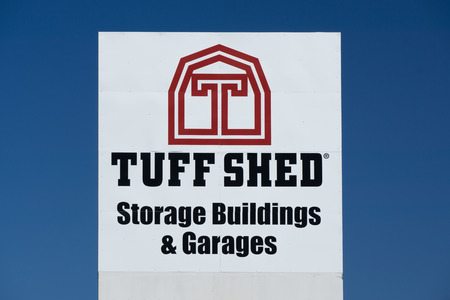 installer: LOS ANGELES, CAUSA - JULY 11, 2015: Tuff Shed storage building sign and logo. Tuff Shed Incorporated is a manufacturer and installer of storage buildings and garages in the United States.