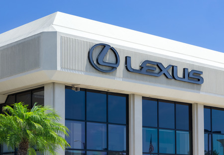 lexus: LOS ANGELES, CAUSA - JULY 11, 2015: Lexus automobile dealership and logo. Lexus is the luxury vehicle division of Japanese automaker Toyota.
