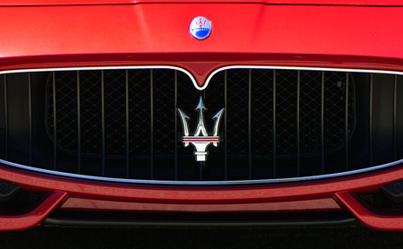 grille: LOS ANGELES, CAUSA - JULY 11, 2015: Maserati automobile grille. Maserati is an Italian luxury car manufacturer. Editorial