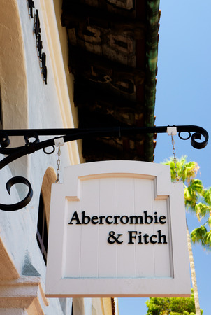 upscale: SANTA BARBARA, CAUSA - JULY 26, 2015: Abercrombie & Fitch store and sign. Abercrombie & Fitch is an upscale American retailer that focuses on casual wear for young consumers.