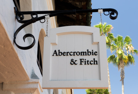 focuses: SANTA BARBARA, CAUSA - JULY 26, 2015: Abercrombie & Fitch store and sign. Abercrombie & Fitch is an upscale American retailer that focuses on casual wear for young consumers.