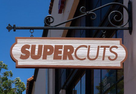 SANTA BARBARA, CAUSA - JULY 26, 2015: Supercuts exterior and sign. Supercuts is a hair salon franchise with over 2,000 locations across the United States.