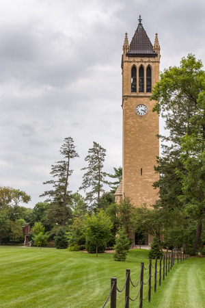 the campanile: AUGUST 6, 2015: The Campanile clock tower on the campus of the University of Iowa State.
