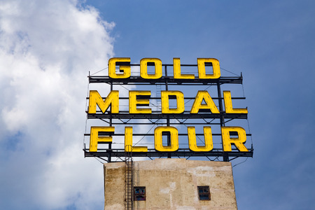 MINNEAPOLIS, MN/USA - AUGUST 5, 2015: The Gold Medal Flour Sign at the landmark Mill  City Musem.