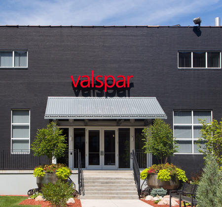 coatings: MINNEAPOLIS, MNUSA - AUGUST 5, 2015: Valspar corporate headquarters entrance. The Valspar Corporation is an American international manufacturer of paint and coatings.