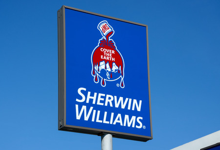 coatings: RICHFIELD, MNUSA - August 12, 2015: Sherwin-Williams paint store sign and logo. Sherwin Williams Company is an American company in the general building materials industry.