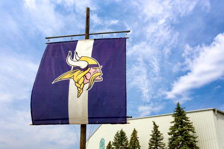 professional practice: EDEN PRAIRIE, MNUSA - August 13, 2015: Minnesota Vikings practice facility and flag. The Minnesota Vikings are a professional American football team based in Minneapolis, Minnesota. Editorial