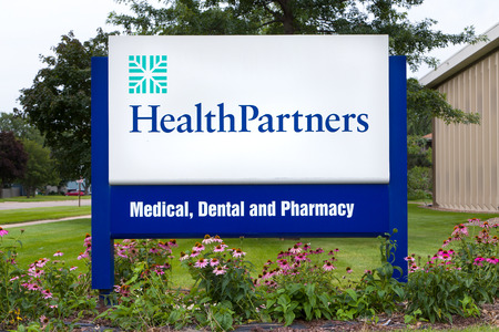 health care provider: BLOOMINGTON, MNUSA - August 13, 2015: HealthPartners clinic and sign. HealthPartners is an integrated, nonprofit health care provider. Editorial
