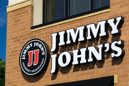 long johns: BLOOMINGTON, MNUSA - August 12, 2015: Jimmy Johns restauraut exterior. Jimmy Johns is an American fast food restaurant franchise that sells submarine sandwiches and salads. Editorial