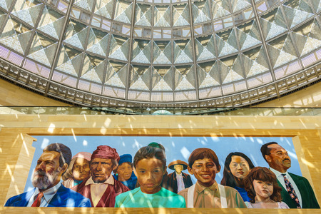 richard: LOS ANGELES, CAUSA - AUGUST 29, 2015: Patsaouras Transit Plaza at Union Station mural of Gabrielino Indians and Latinos by artist Richard Wyatt.