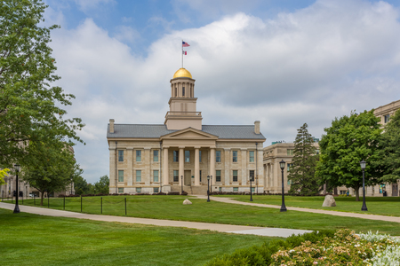 iowa: IOWA CITY, IAUSA - AUGUST 7, 2015: Iowa Old Capitol Building at the University of Iowa. The Iowa Old Capitol Building is the original Iowa state capitol. Editorial