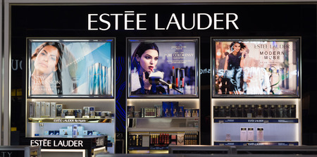 LOS ANGELES, CA/USA - AUGUST 4, 2015: Estee Lauder store display. Estee Lauder is an American manufacturer and marketer of high-end skincare, makeup, fragrance and hair care products. Editorial