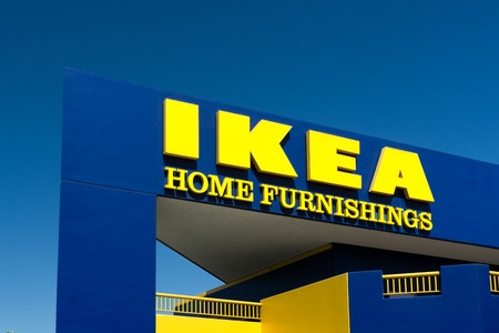 furniture store: BURBANK, CAUSA - SEPTEMBER 19, 2015: Ikea store exterior. Ikea is a Swedish company  that designs and sells ready-to-assemble furniture, appliances and home accessories. Editorial