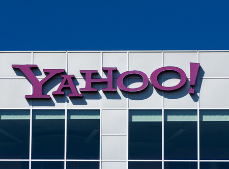 web portal: BURBANK, CAUSA - SEPTEMBER 19, 2015:  Yahoo corporate Sign. Yahoo is an American multinational Internet corporation globally known for its Web portal, search engine Yahoo Search, and related services