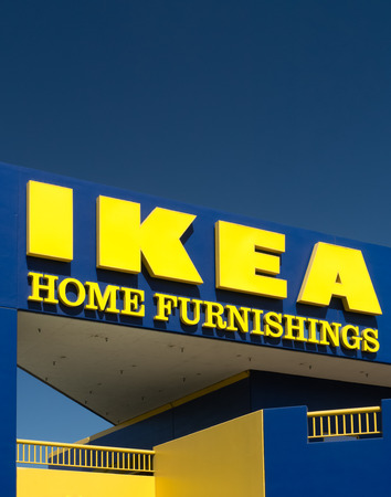 ikea: BURBANK, CAUSA - SEPTEMBER 19, 2015: Ikea store exterior. Ikea is a Swedish company  that designs and sells ready-to-assemble furniture, appliances and home accessories. Editorial