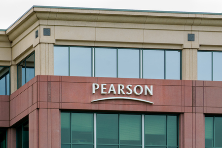 plc: BLOOMINGTON, MN, USA, August 13, 2015. Pearson PLC office building. Pearson PLC is the largest education company and the largest book publisher in the world. Editorial