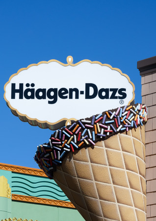 franchises: ANAHEIM, CAUSA - OCTOBER 10, 2015: Haagen-Dazs ice cream store exterior. Haagen-Dazs is an ice cream brand with franchises throughout the world.