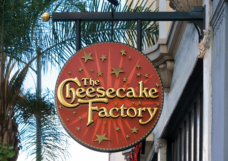 PASADENA, CAUSA - OCTOBER 4, 2015: Cheesecake Factory restauruant sign. The Cheesecake Factory, Inc. is a distributor of cheesecakes and restaurant company.