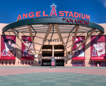 ballpark: ANAHEIM, CAUSA - OCTOBER 10, 2015: Angel Stadium of Anaheim entrance. Angel Stadium is the home ballpark to Major League Baseballs Los Angeles Angels.