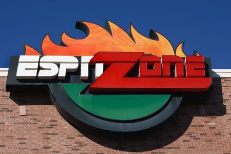 big screen tv: ANAHEIM, CAUSA - OCTOBER 10, 2015: ESPN Zone exterior. ESPN Zone is a restaurant at Downtown Disney at the Disneyland Resort.