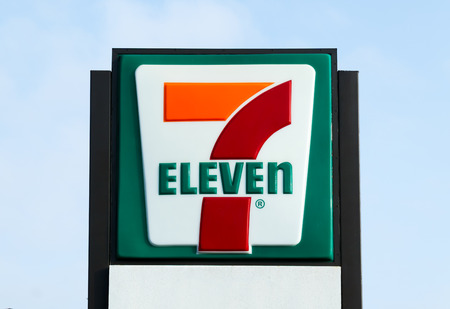 eleven: COSTA MESA, CAUSA - OCTOBER 17, 2015: 7-Eleven store exterior and sign. 7-Eleven is the worlds largest operator and franchisor of convenience stores.