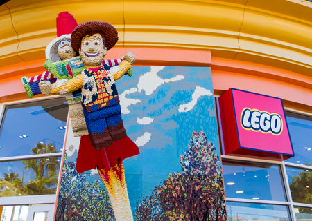 lego: ANAHEIM, CAUSA - OCTOBER 10, 2015: Legloland store exterior at Downtown Disney. The Lego Group manufactuers of Lego brand toys.