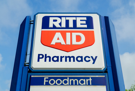 rite: COSTA MESA, CAUSA - OCTOBER 17, 2015: Rite Aid Pharmcy store exterior. Rite Aid is a drugstore chain in the United States Editorial