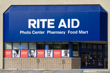 druggist: COSTA MESA, CAUSA - OCTOBER 17, 2015: Rite Aid Pharmcy store exterior. Rite Aid is a drugstore chain in the United States Editorial
