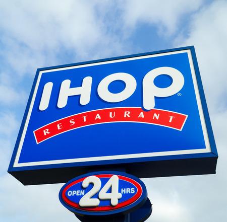 COSTA MESA, CA/USA - OCTOBER 17, 2015:  IHOP (International House of Pancakes) Restaurant exterior. IHOP  is a restaurant chain specializing in breakfast foods.