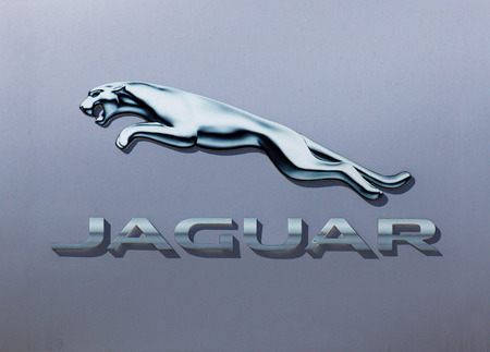 car model: GLENDALE, CAUSA - OCTOBER 24, 2015: Jaguar automobile dealership logo.