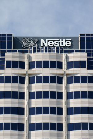 nestle: GLENDALE, CAUSA - OCTOBER 24, 2105: Nestle USA headquarters. Nestle is a Swiss transnational food and beverage company and ranked on the Fortune Global 500.