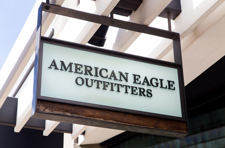 store sign: GLENDALE, CAUSA - OCTOBER 24, 2015: American Eagle Outfitters store exterior and sign. American Eagle Outfitters is an American clothing and accessories retailer.